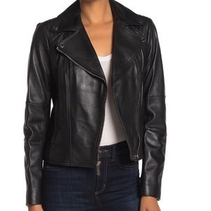 77M873M62 Michael Kors Black Moro Leather Jacket